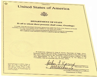 Sample documents authenticated by secretary of state for Consul authentication