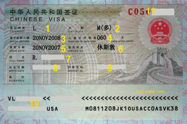 Chinese Visa Example